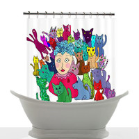 Artistic Shower Curtain - Crazy Cat Lady- Vibrant Art, cats, art, decor, bath, home