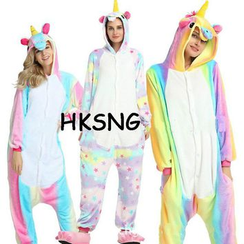 HKSNG  Adult Colorful Rainbow Unicorn Pajamas Star Winter Animal Kiguruma Onesuit Pyjamas Costume For Girls Women