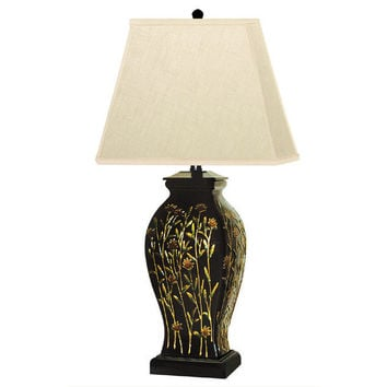 """Beautiful Porcelain Long Stem Floral Black Table Lamp 29"""" with Shade"""