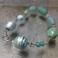 Sea Green Glass Bead Bracelet
