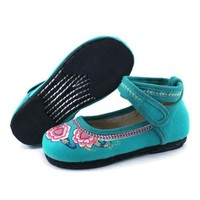 Old Beijing Embroidered Cloth Shoes Kid   blue