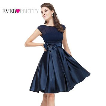 Cocktail Dresses Ever Pretty HE06113 Cute Women 2017 Knee Length Short Satin Vestidos Plus Size Sexy Women Cocktail Dresses