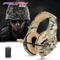 Camouflage army green Noise canceling gaming headphones for computer PS4 PSP phone 3.5mm + USB Wired headphone with Microphone
