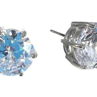 "Cubic Zirconia Earrings Round Silver Plated Stud 13mm 0.51"" Diameter"