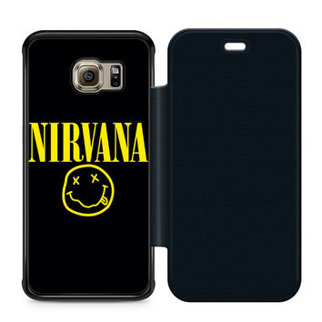Nirvana Leather Wallet Flip Case Samsung Galaxy S6 Edge