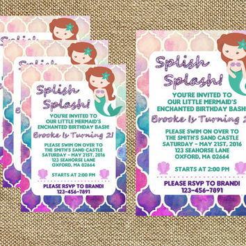 Mermaid Birthday, Little Mermaid Invite, Mermaid Invitations, Splish Splash, Girl's Birthday, Under The Sea Invite (Digital File)