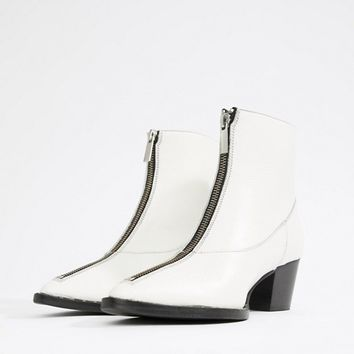 Gestuz leather boot with stud and zip detail at asos.com