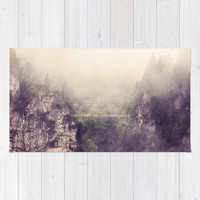 Art area throw Rug Breathtaking Modern Photography home decor purple tones gray grey mountains bridge ethereal light hazy forest green