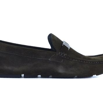 Cavalli Class Men's Smooth Brown Suede Slip on Driving Flat Loafers