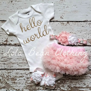 READY TO SHIP Baby Girl Take Home Outfit Newborn Baby Girl Hello World Onesuit Pink Bloomers Pink &  Floral Headband Sandals Set