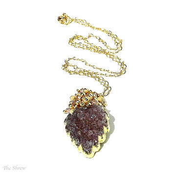 Lilac Purple Druzy Pendant / 14K Gold / Leaf Drop Pendant / Wire Wrapped / Statement Necklace / Modern Jewelry / Gifts Fore Her / OOAK