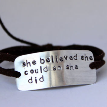 "inspirational quote bracelet, ""she believed she could so she did"", wrap bracelet, hand stamped, graduation gift"