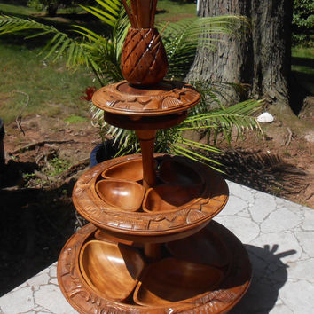 Lazy Susan Turntable - Wooden Server Centerpiece Tray - Carved Wood Pineapple Top