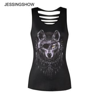 2018 Retro Cool Women Sexy Tops Sleeveless Hollow Back Black Wolf 3D Print Summer Beach Backless Short Halter Crop Tank Tops