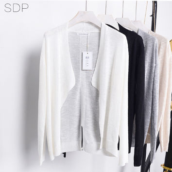 New Arrival knitted cardigan  linen blend solid color long sleeve