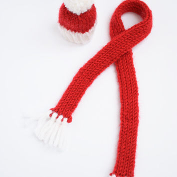 Handmade Christmas Knitted Decoration, Red and White Hat and Scarf Wine or Bottle Toppers, Christmas Present, Gift, Accessory