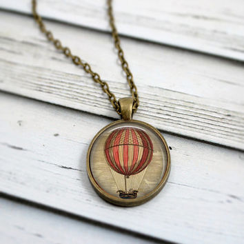 Hot Air Balloon Necklace, Adventure Necklace, Traveler Jewelry
