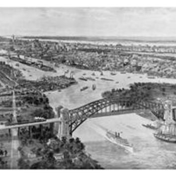 East River and Hell Gate Bridge: Fine art canvas print (12 x 18)