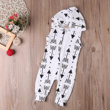 Infant Baby Romper Jumpsuits Hooded Girl Boy One-pieces Rompers Cotton Sleeveless Arrowhead Printed Jumpsuit Baby Outfits D40