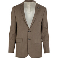 River Island MensBrown check slim suit jacket