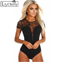 La Chilly Body Dentelle 2018 Summer Womens Body Suits Black Lace Short Sleeve Bodysuit Mono Corto LC32241 Combinaison Short