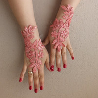 Angel,  coral lace wedding gloves fingerless gloves french lace vampire costume free ship rose