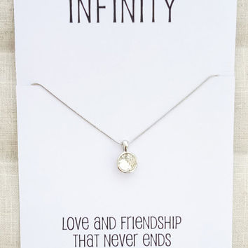 Silver Toned Circle Crystal Pendant Infinity Friends and Family Gift Card Woman Fashion Necklace
