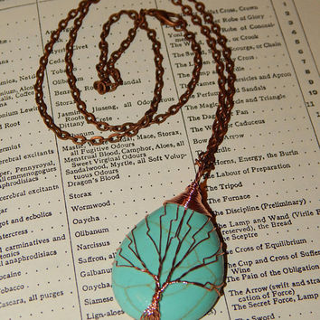 Genuine TURQUOISE Necklace - Copper Wire Wrapped Pendant - Tree of Life Necklace - Gemstone Pendant - Gemstone Jewelry - Crystal Jewelry