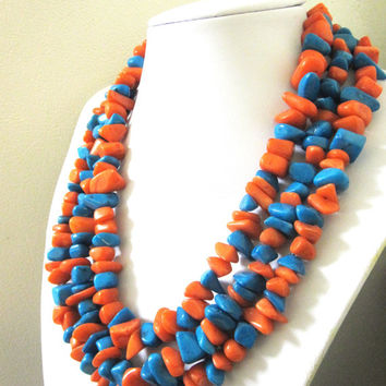 Western Jewelry Necklace Turquoise Blue Coral 3 Tiered