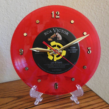 "ELVIS PRESLEY 45rpm Record Clock 7"" For Desk or Wall (Love Me Tender) - Stand Included"