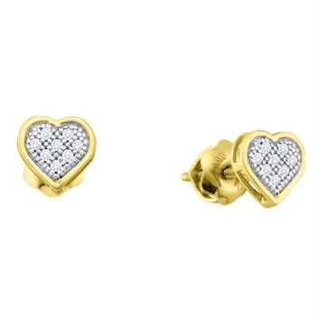 Yellow-tone Sterling Silver Women's Round Diamond Heart Cluster Stud Earrings 1-20 Cttw - FREE Shipping (US/CAN)