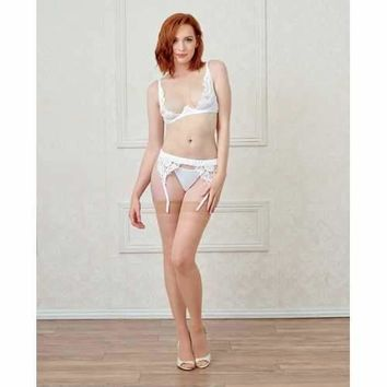 Underwire Open Cup Mesh & Satin Shelf Bra w/Lace Trim, Adjustable Straps & Hooks White 34