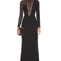VERSACE Plunging Neck Mesh Gown in Black | FWRD