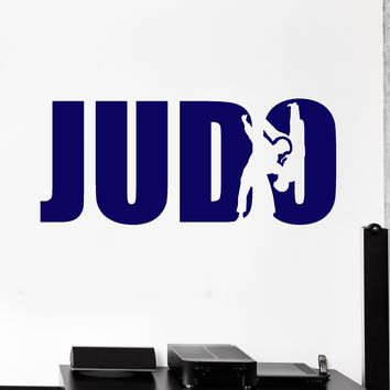 Vinyl Wall Decal Judo Sports Wrestling Fighters Logo Signboard Word Stickers (2131ig)