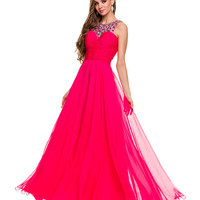 Fuchsia Embellished Sweetheart Chiffon Gown 2015 Prom Dresses