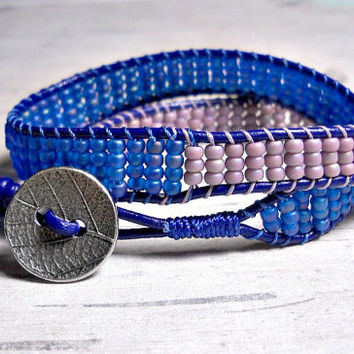 Blue and Purple Double Wrap Bracelet, Wrap Around, Bead Wrap Bracelet