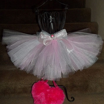 Princess Valentine's tutu skirt-pink/silver glitter/gray-beautiful-shimmery-girl-baby-love-heart-sweetheart-unique-gorgeous-holiday-special
