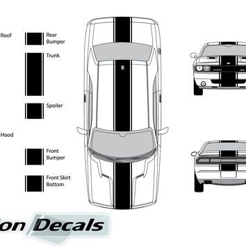 "Dodge Challenger 2008 15"" Rally Racing Stripe with Pin Stripes Vinyl Decal Kit"