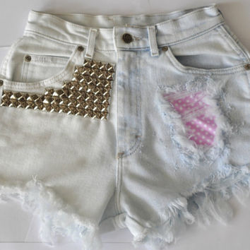 "Vintage High Waist Super Studded, Bleached Denim Cut Off Shorts with Pink Polka Dots - ""Let It Be"" XSMALL"