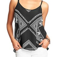 Women's Printed Chiffon Tanks