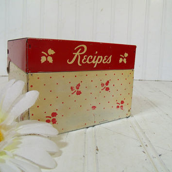 Retro Red Enamel Hand Painted Stenciled Metal Recipe Box - Vintage Early Mid Century BoHo Hippie File Organizer - Red & Ivory Kitchen Decor