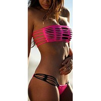 Rose Red Strappy Bikinis String Swimsuits Hollow Out Swimwear Women Bathing Suit  Brazilian bottom