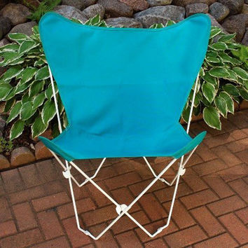 Algoma Net Company 405251 White Butterfly Chair with Teal Cover