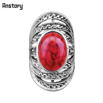Victoria Hollow Flower Oval Stone Rings For Women Vintage Antique Silver Plated Fashion Jewelry TR224