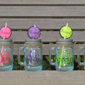Monogrammed mason mugs, party favor mason jars, tinted mason mugs, glass mason mugs, mason jars with handles, wedding party favor