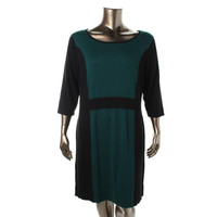 AGB Womens Plus Knit Colorblock Sweaterdress
