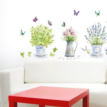 [Fundecor] DIY home decor flower pots wall stickers art decals vase Home decoration decoracion hogar pegatinas de pared