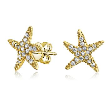 Pave CZ Starfish Shaped Stud Earrings 14K Gold Plate Sterling Silver