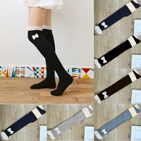 Women Crochet Chic Lace Trim Cotton Bow Knit Knee High Leg Warmers Boot Socks = 1945742980