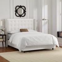Skyline Furniture Nail Button Tufted Wingback Queen Bed in Velvet White
